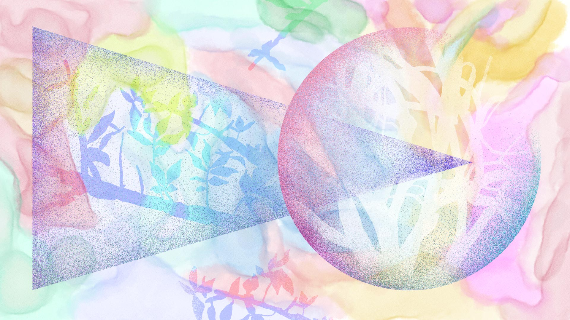 "A faux watercolor digital painting in pastel color tones. On top of that, a large airbrushed triangle and circle intersect each other. Each shape holds the silhouette of foliage and branches. Below the shapes, the handwritten text: ""I smiled for a photo and fell upward out of my body""."