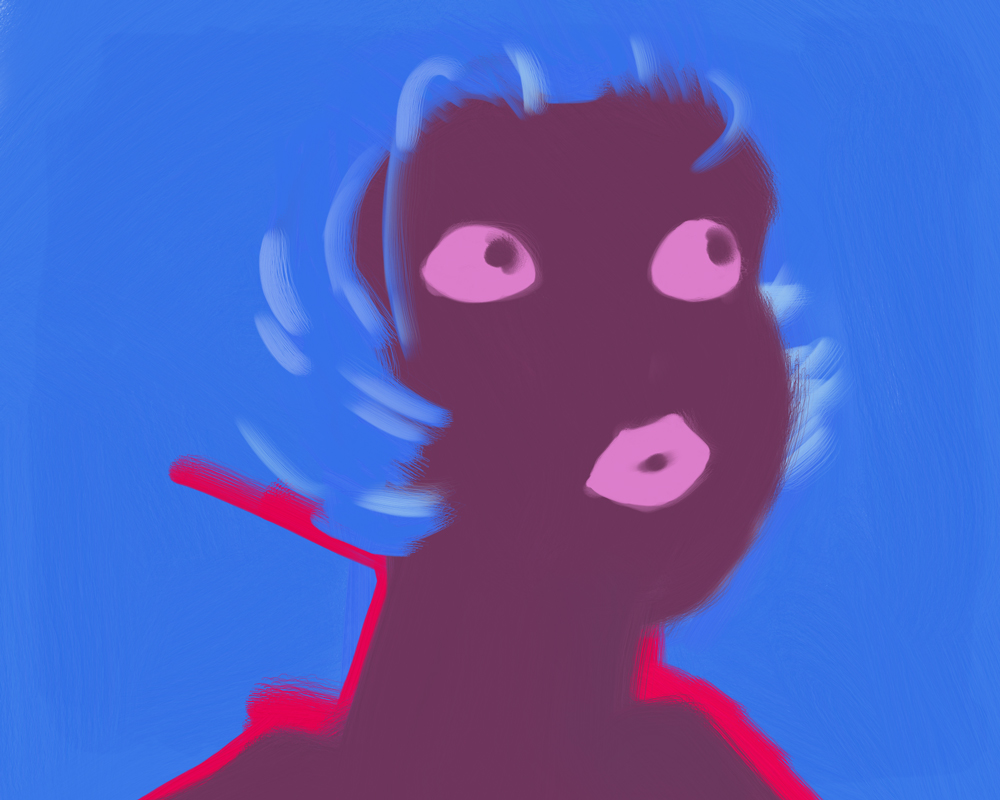 A flat shaded digital painting of a person from the shoulders up, revealed as a purple silhouette against a bright blue background; their only visible features are eyes glancing slightly upward, and their lips. Streaks of red outline their neck and shoulders, and strokes of lighter blue suggest the shape of hair covering their face.