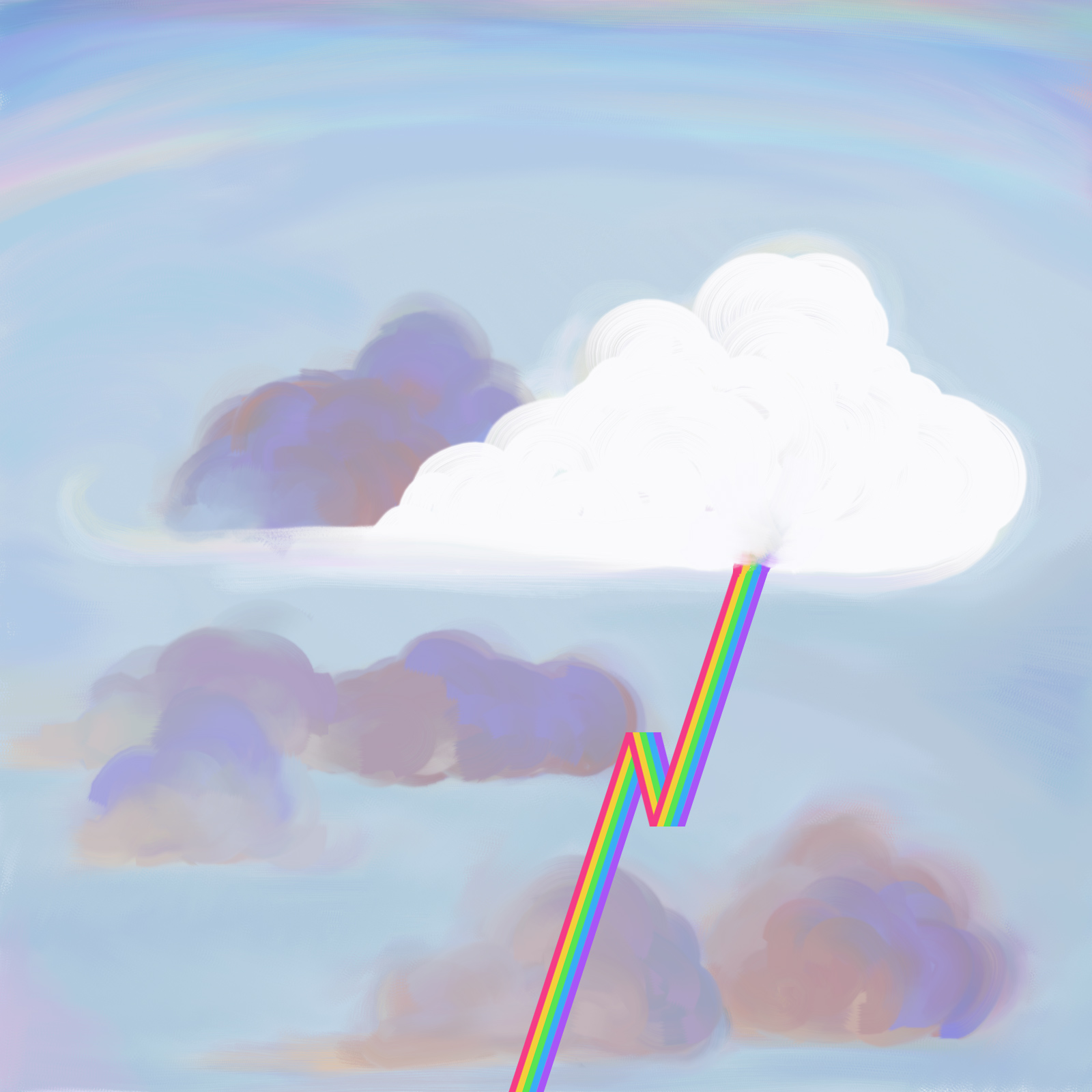 A digital painting of a light blue sky filled with clouds. Most of dark bluish gray storm clouds, but one is completely white, which is discharging a jagged bolt of lightning in striped rainbow colors.