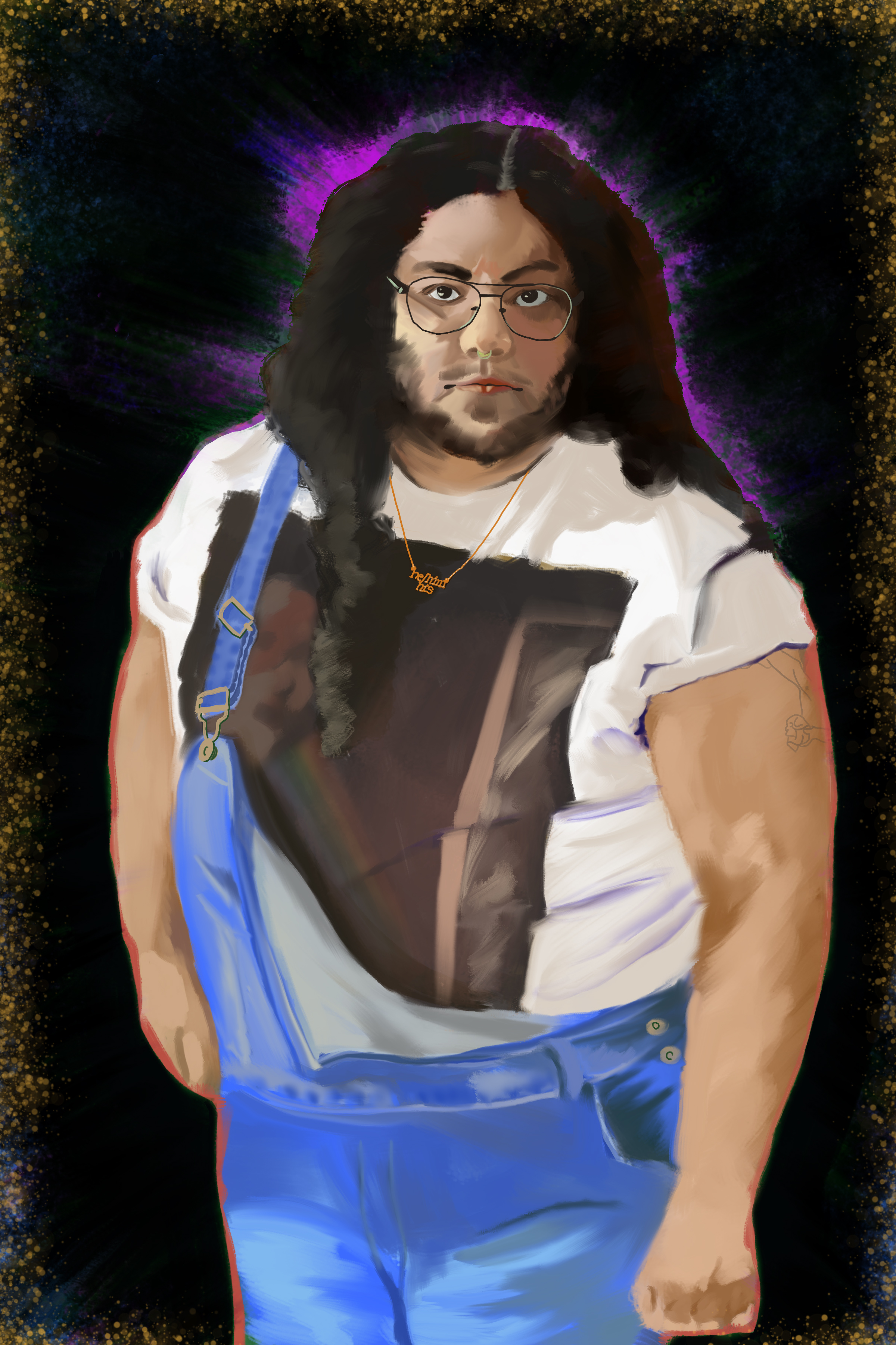"A digital portrait based on a photograph of a person in blue overalls slung over one shoulder and a band t-shirt, standing at an angle and looking into the camera. He has long brown hair, with locks spilling over one of his shoulders over his chest on one side. He's wearing wire rimmed glasses and a brass necklace that reads ""he/him/his"". There's a magenta halo around his head, and the background is black."