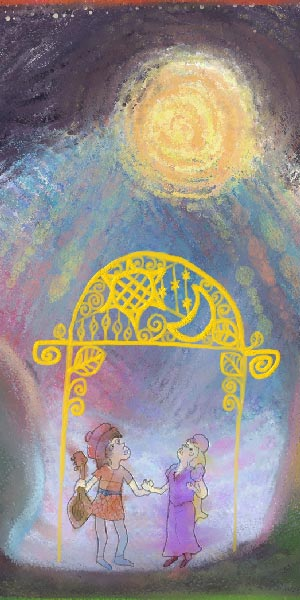 A painting of two people holding hands beneath a golden trellis. One of them is holding a stringed instrument, the other is dressed as royalty. They are both looking upward at the sun which is casting daylight across a dark purple sky.