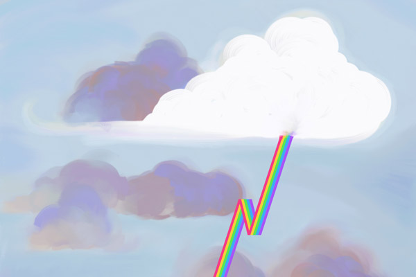 A painting of a fluffy white cloud in front of a background of storm clouds, shooting out multicolored lightning.