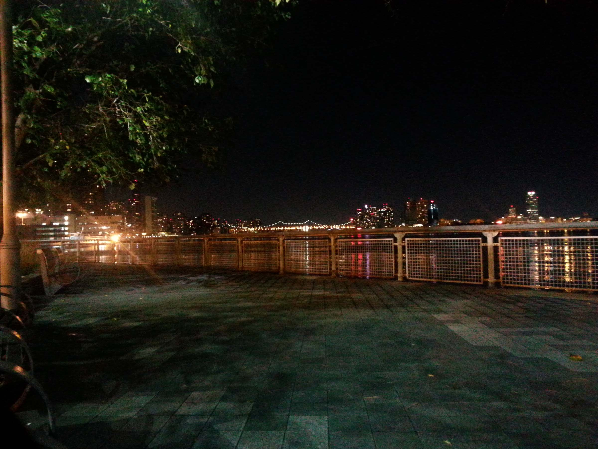 Photo of the East River at night, taken from East River Park on Manhattan and looking toward Queens. The Queensboro Bridge is on the middle of the horizon.