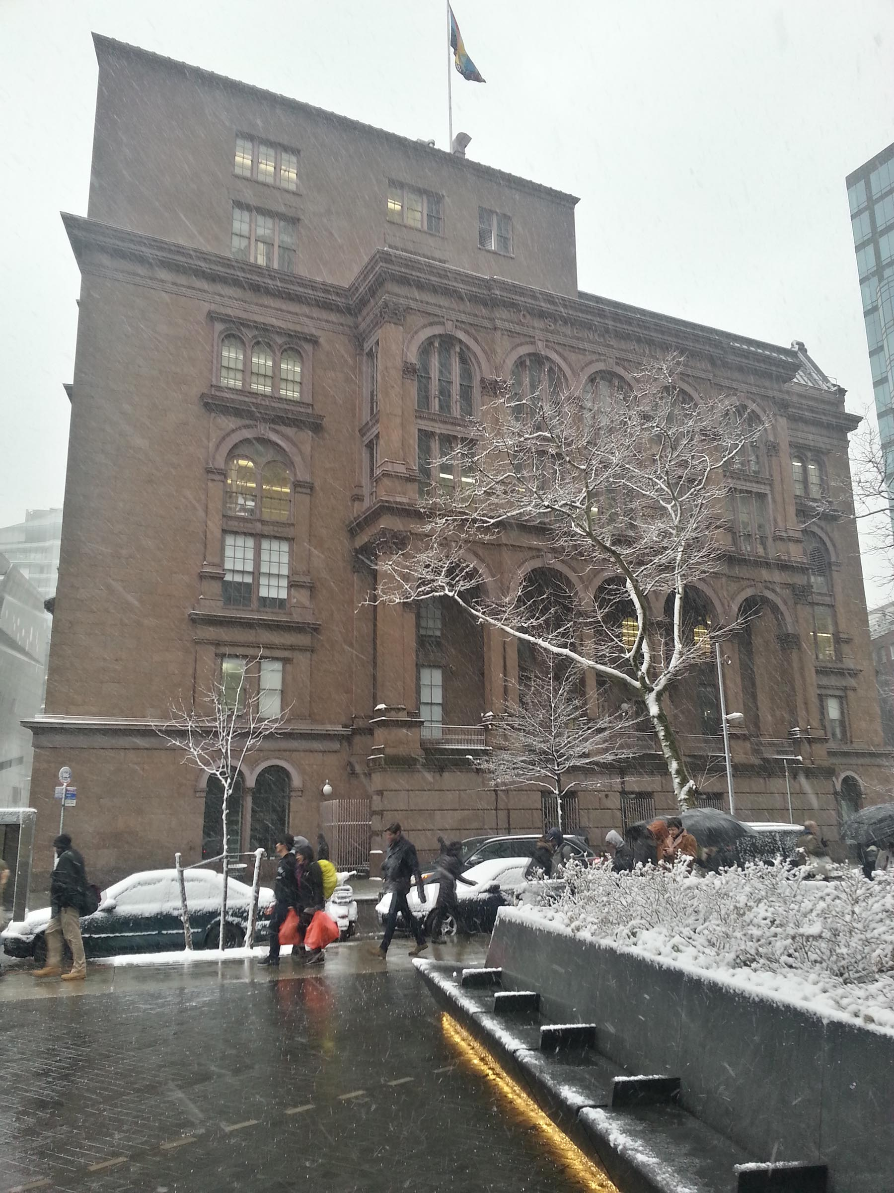 Photograph of the Cooper Union building on a snowy day, taken from across the street. A snow covered tree and hedge are in the foreground in front of it.