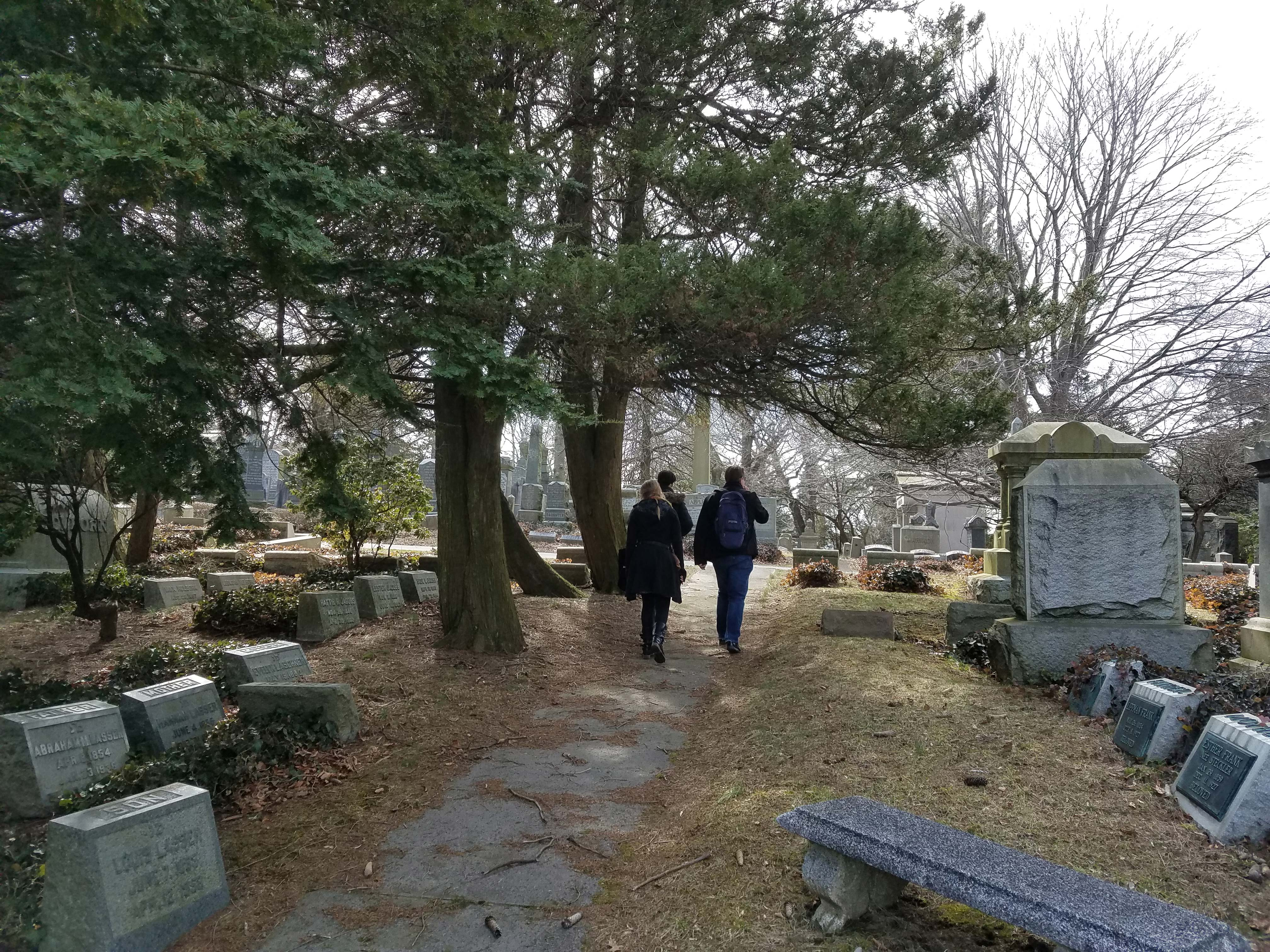 A picture in a cemetary in early afternoon of three people walking into the distance on a path past some trees.