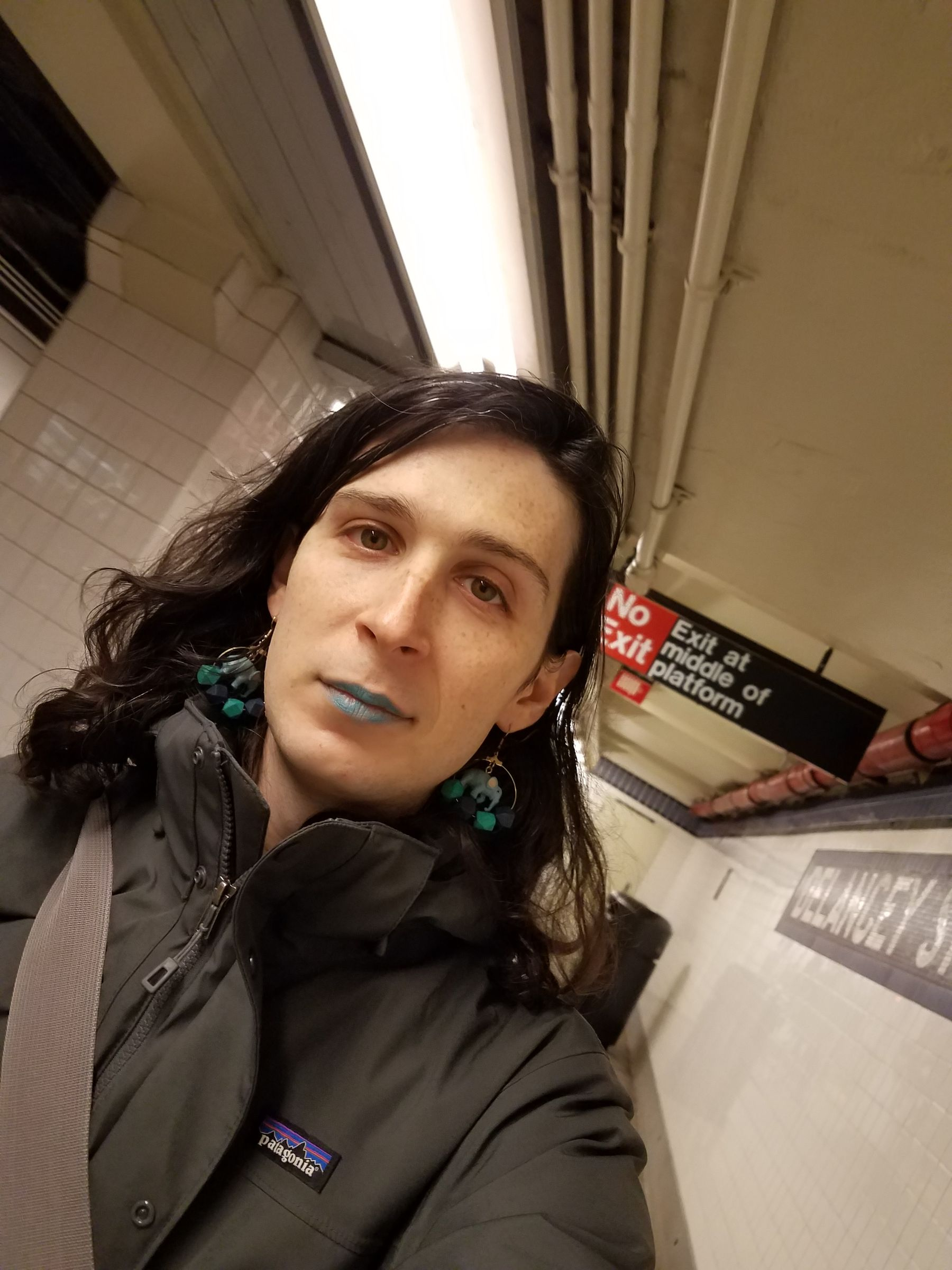 Selfie photo of me on a subway platform, with the Delancey Street tile mosaic on the wall. I'm in a gray winter coat, wearing blue lip color and blue earrings with plastic elephants dangling from them.