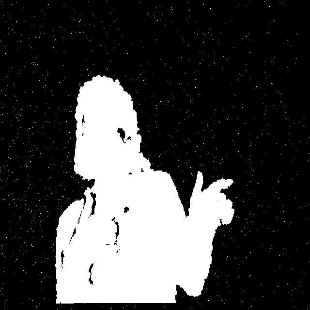 A starfield (white points on a black background) overlayed with the white silhouette of a person shooting fingerguns at the viewer.