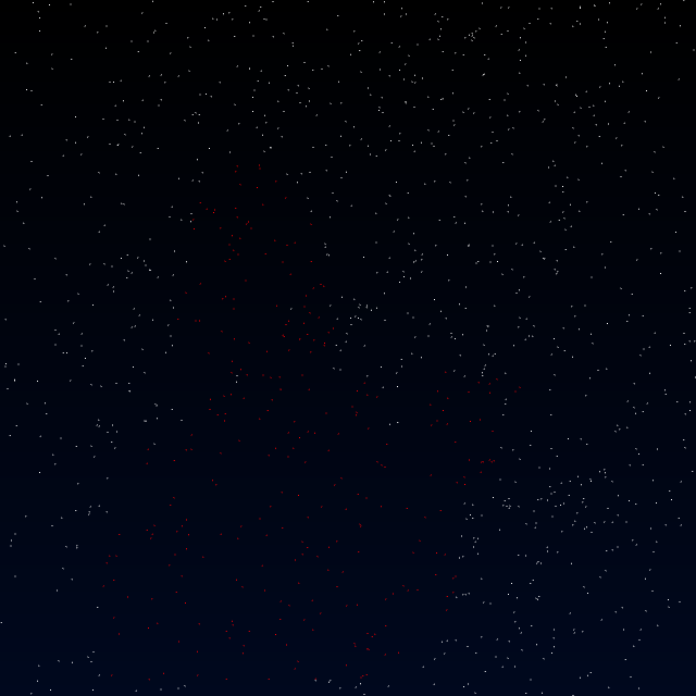 The same starfield as the previous image, but instead of a visible white silhouette of a person, the stars that would have been covered by the silhouette are colored red instead.